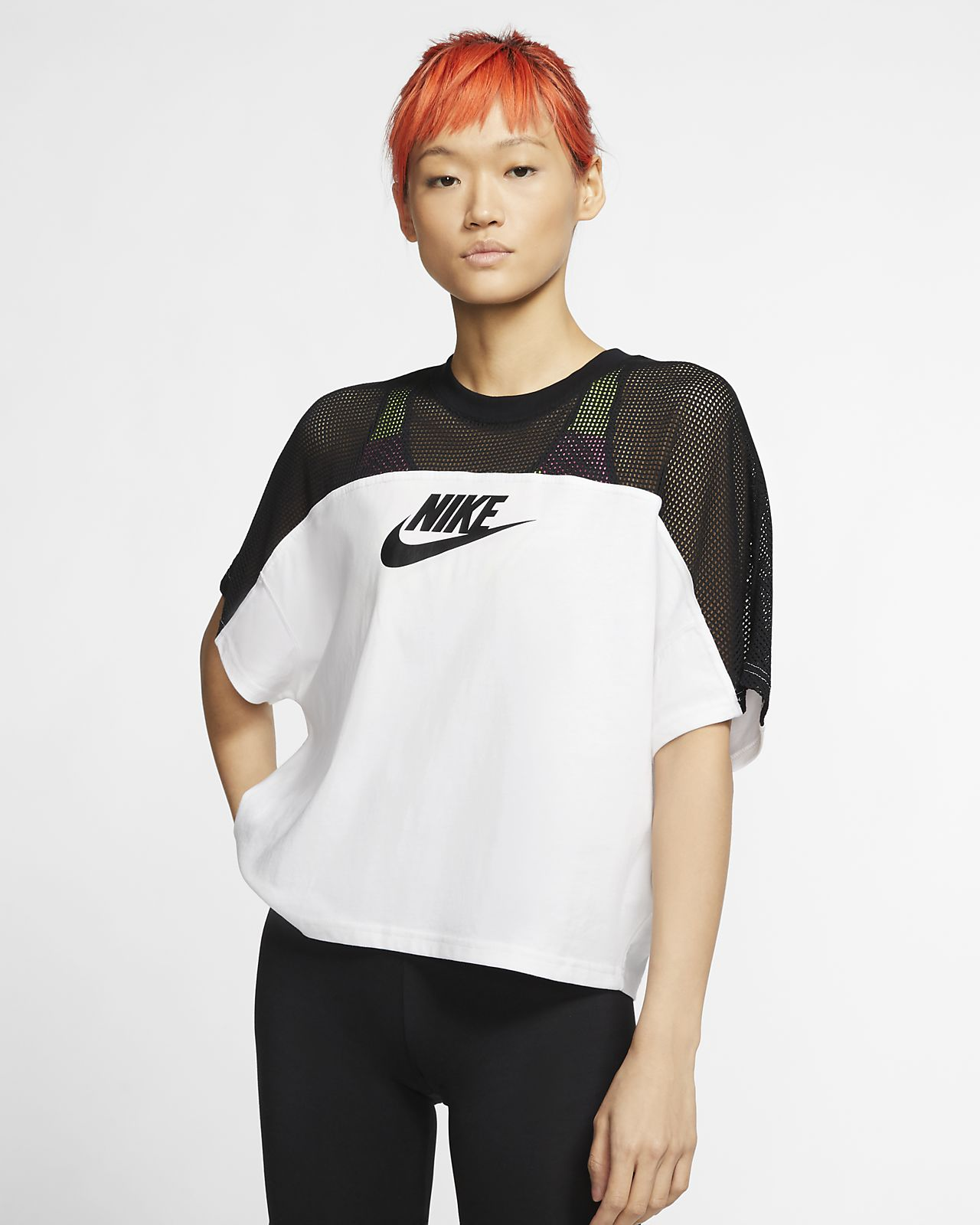 Dámský síťovinový top Nike Sportswear s krátkým rukávem