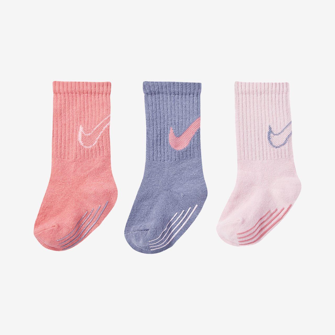 Ponožky Nike Track Gripper Tall pro kojence a batolata (3 páry)