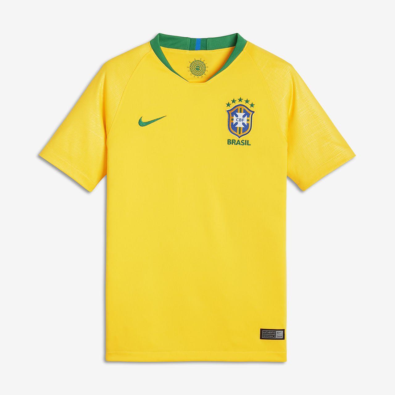 e00b730ecf5 ... Camiseta de fútbol para niños talla grande 2018 Brasil CBF Stadium Home