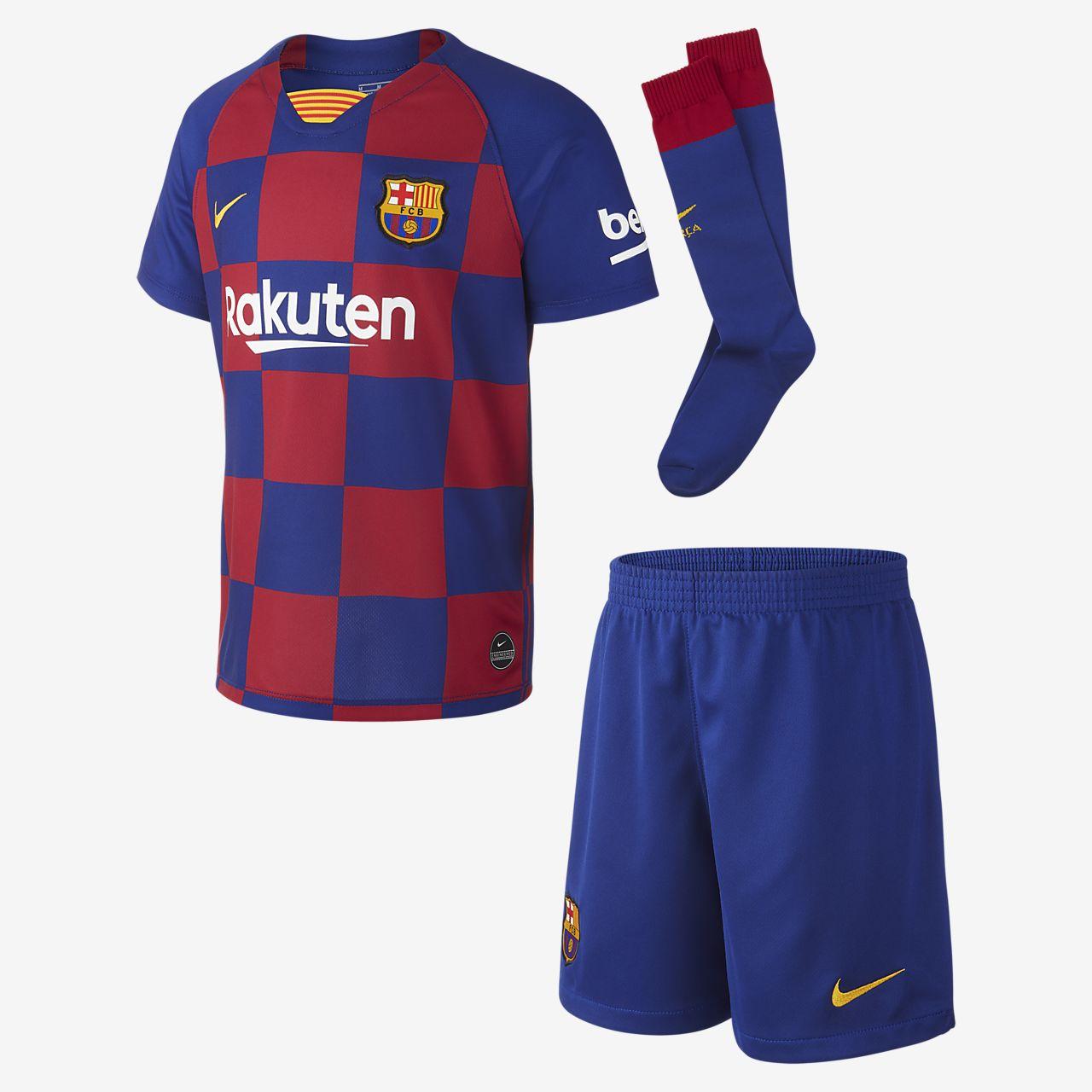 Kit de fútbol de local para niño talla pequeña del FC Barcelona 2019/20