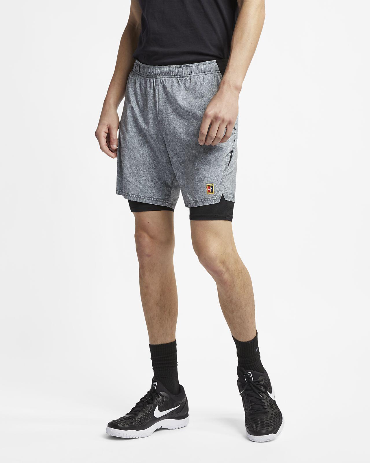 กางเกงเทนนิสขาสั้นผู้ชายพิมพ์ลาย NikeCourt Flex Ace