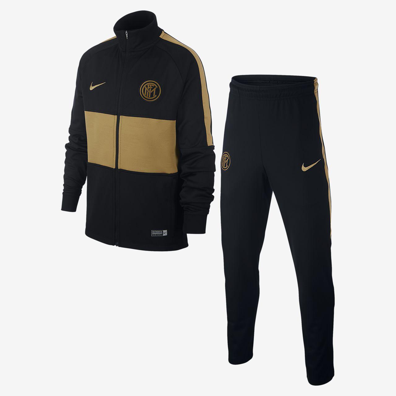 Fotbalová tepláková souprava Nike Dri-FIT Inter Milan Strike pro větší děti