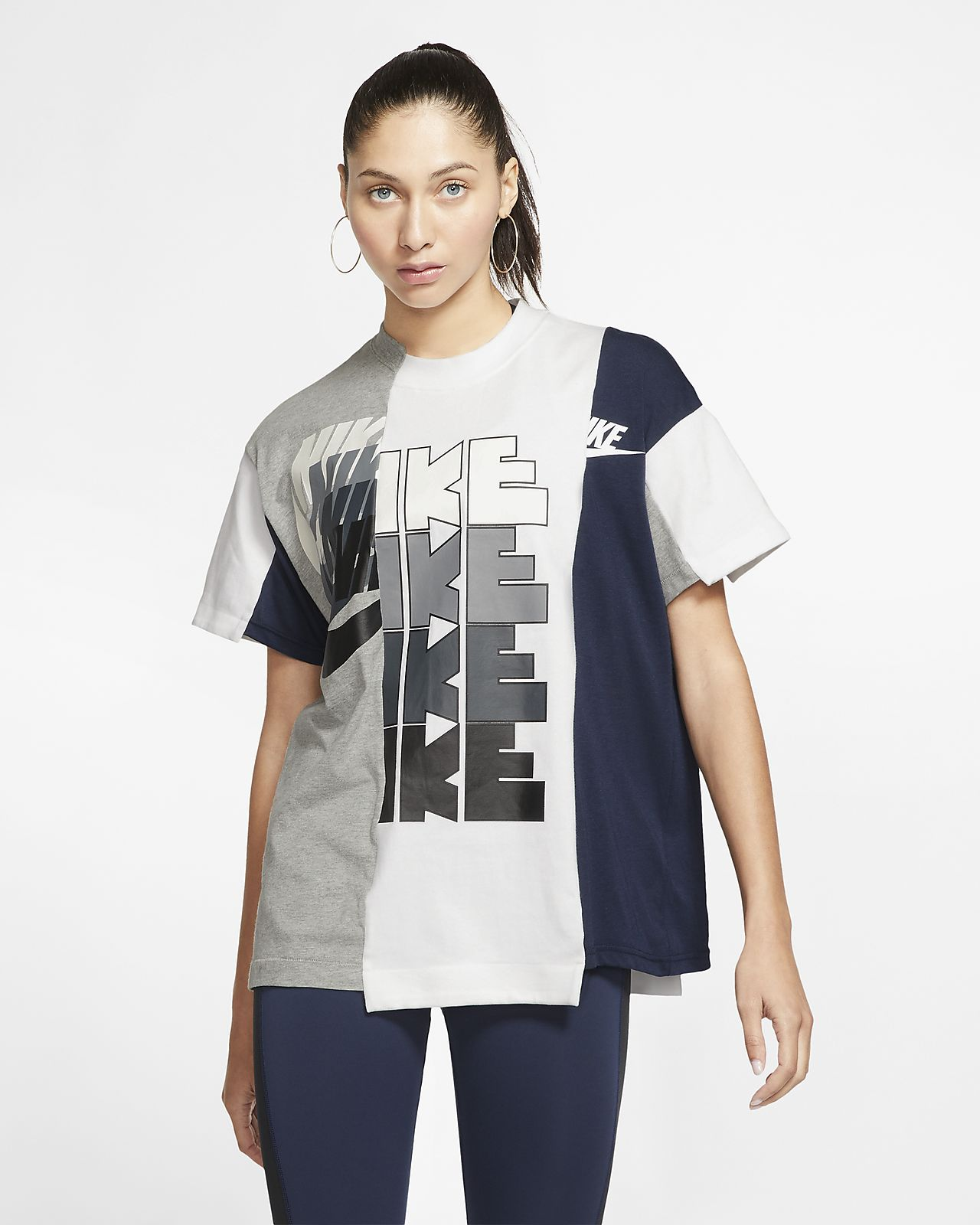 Nike x Sacai Hybrid-T-Shirt für Damen