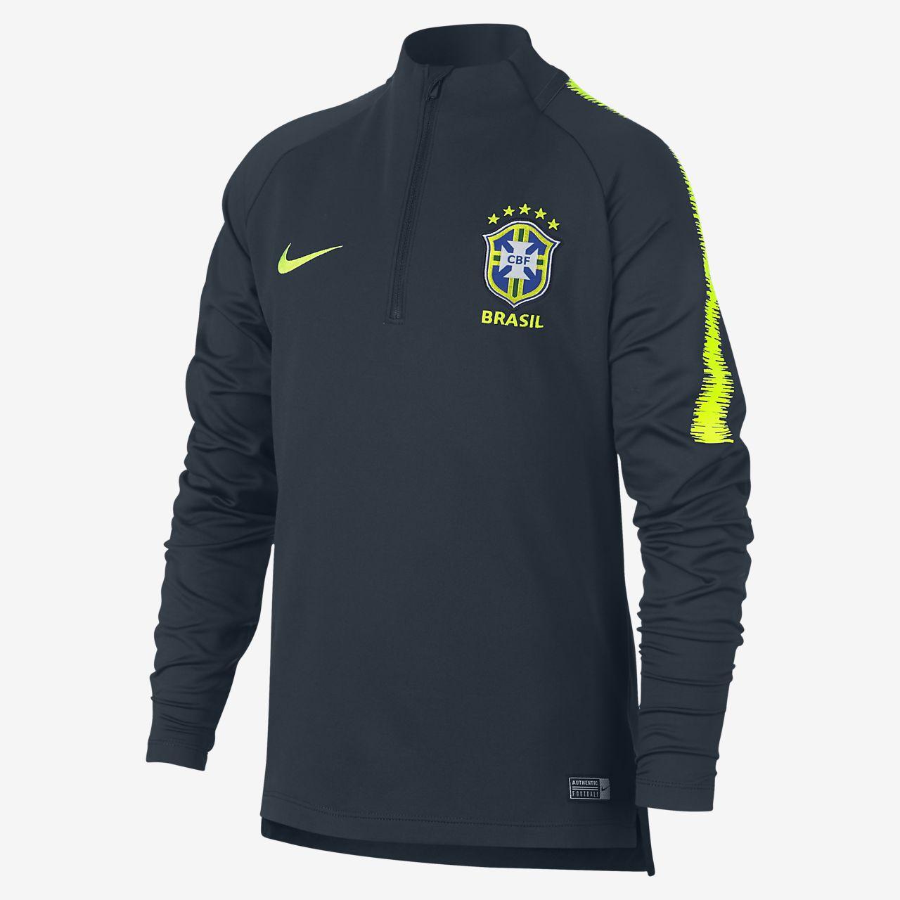 Fotbalové tričko s dlouhým rukávem Brazílie CBF Dri-FIT Squad Drill pro větší děti
