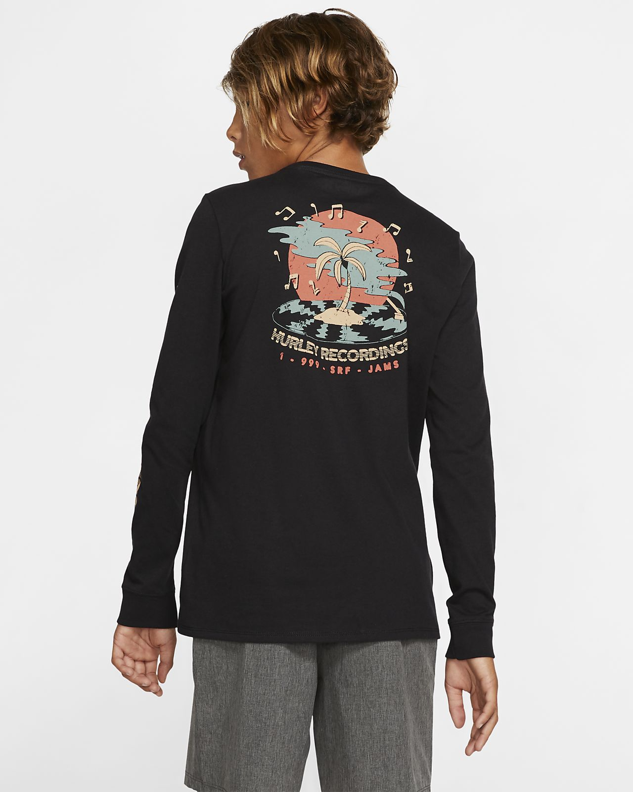 Hurley Premium Record Palms Boys' Long Sleeve T Shirt