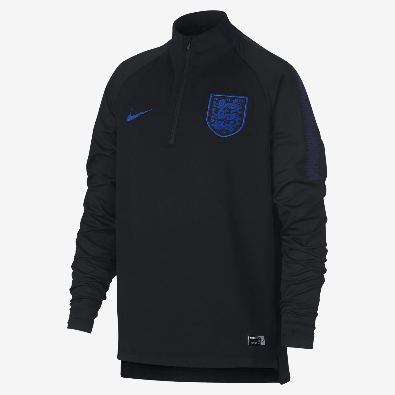 England Dri-FIT Squad Drill-langærmet fodboldtrøje til store børn