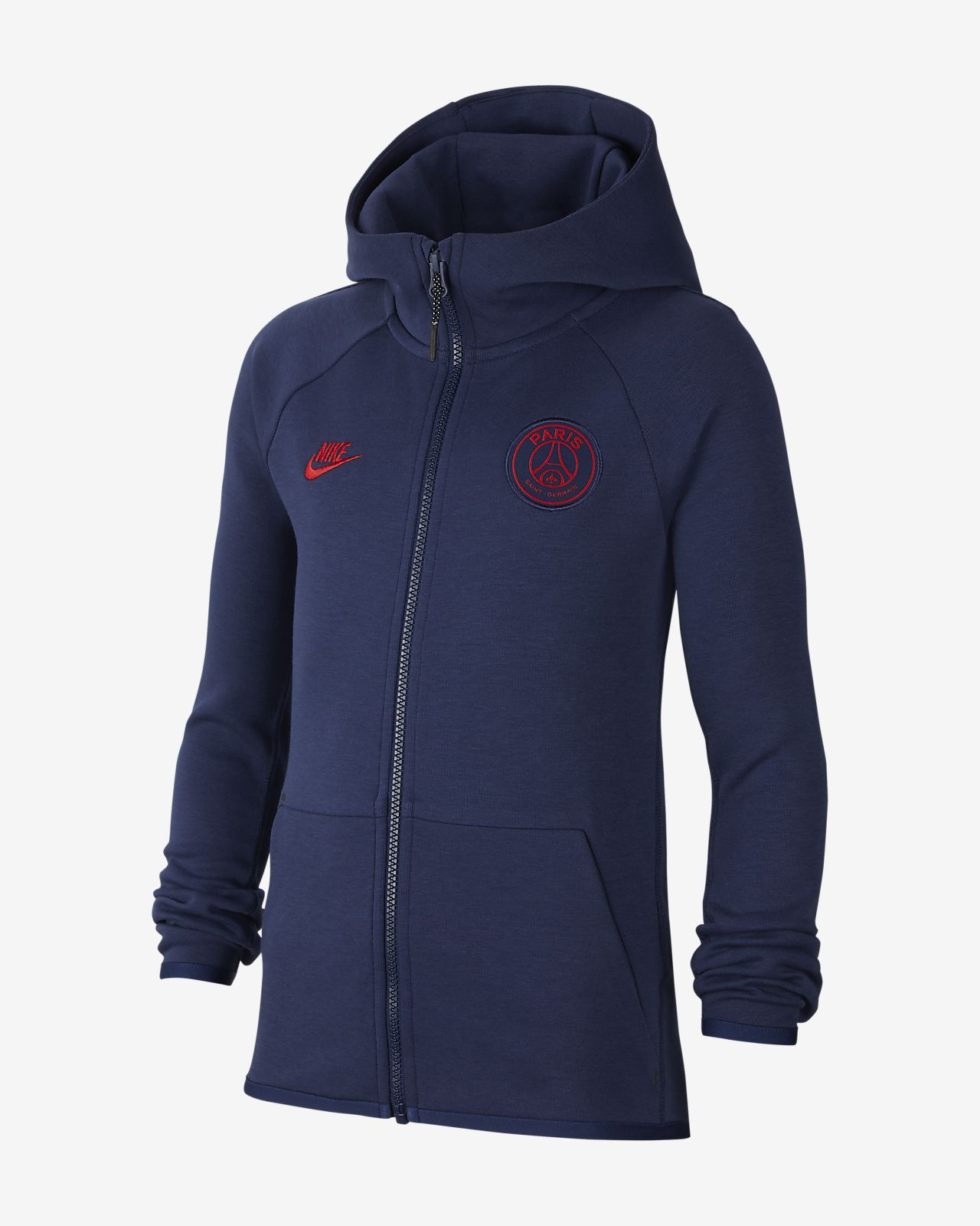 Sweat à capuche à zip intégral Paris Saint Germain Tech Fleece Essentials pour Enfant plus âgé