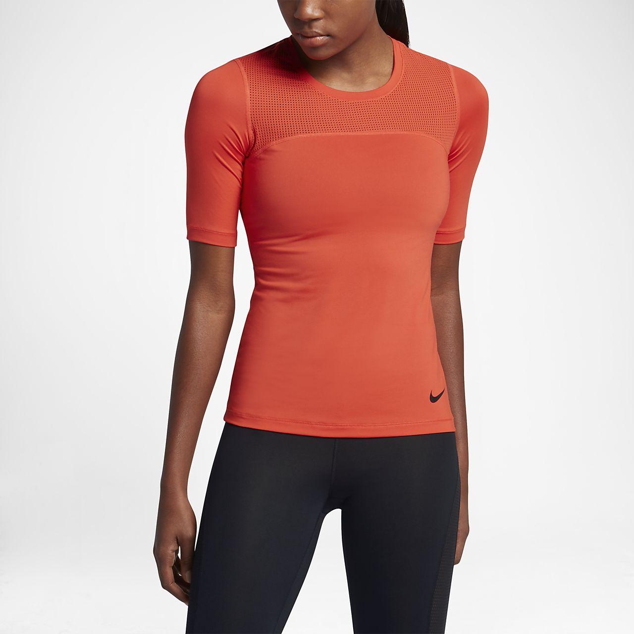Nike Pro HyperCool Women's Short Sleeve Training Tops Orange/Black