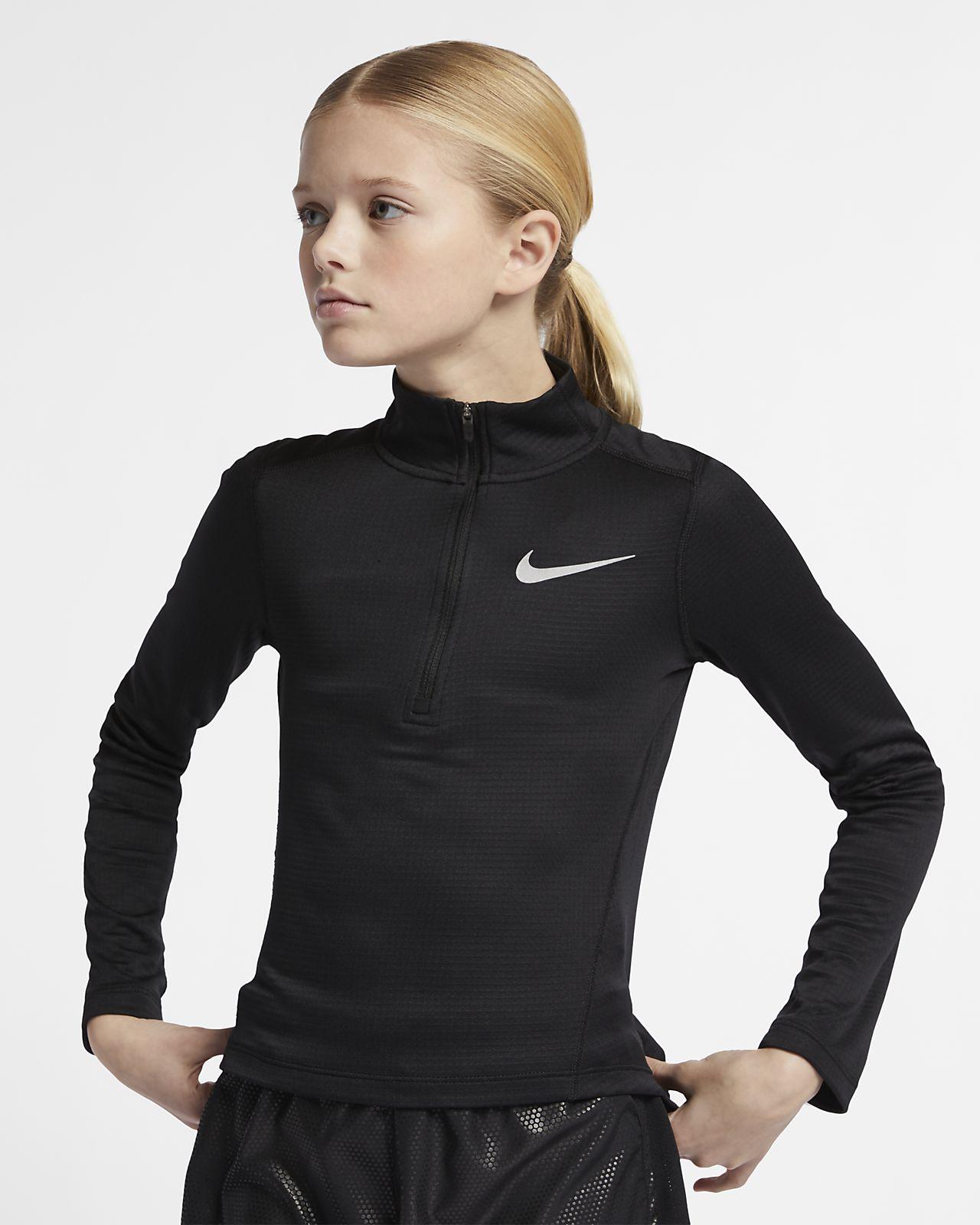 Langærmet løbeoverdel med lynlås i halv længde til store børn (piger)