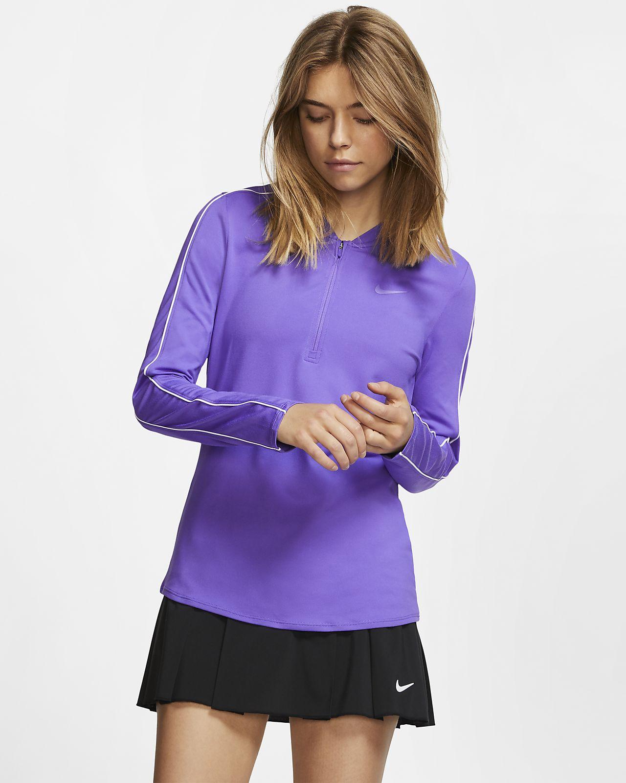 NikeCourt Dri-FIT Damen-Tennisoberteil mit Halbreißverschluss