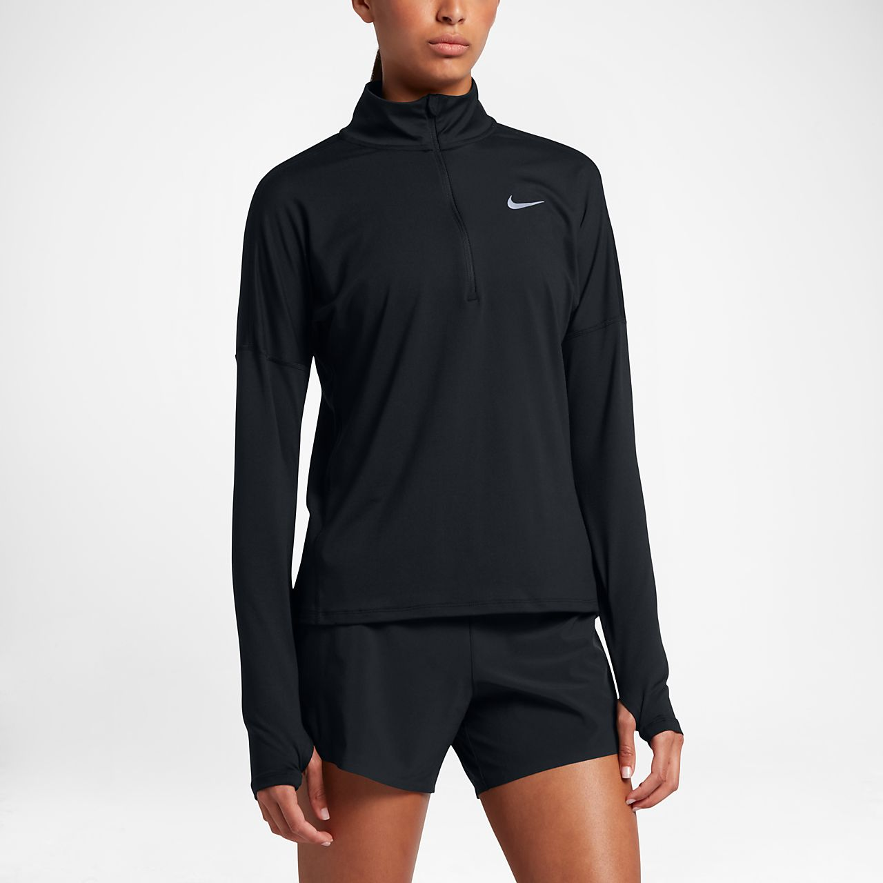 Nike Dri-FIT Element Hardlooptop met lange mouwen en halflange rits voor dames
