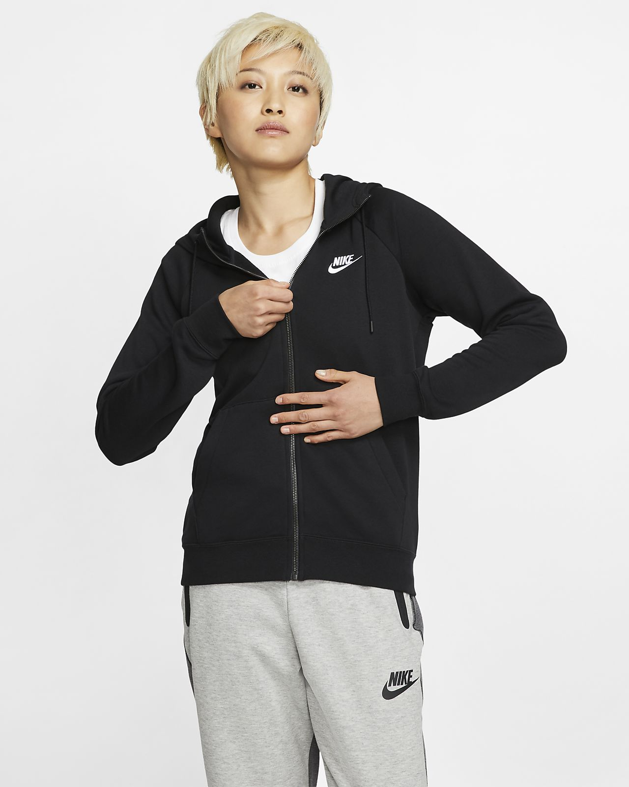 Sweat à capuche en tissu Fleece à zip Nike Sportswear Essential pour Femme