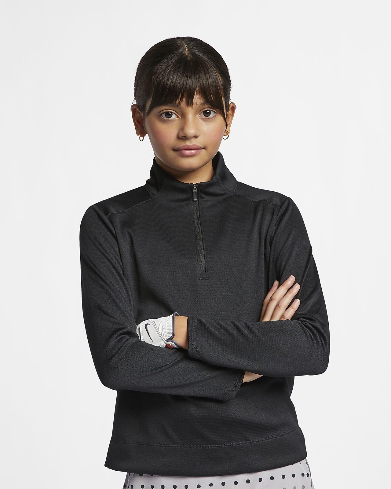 Nike Dri-FIT-golfoverdel med lange ærmer og lynlås i kvart længde til store børn (piger)