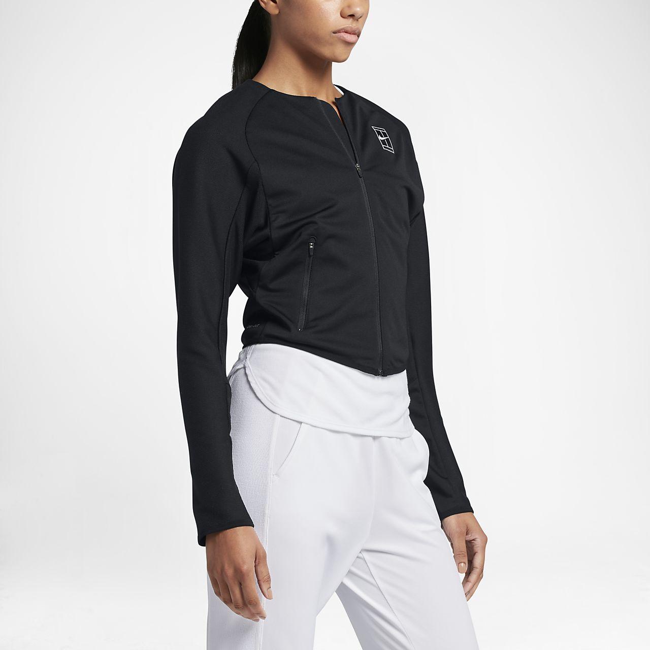 NikeCourt Women's Knit Tennis Jackets White/Black