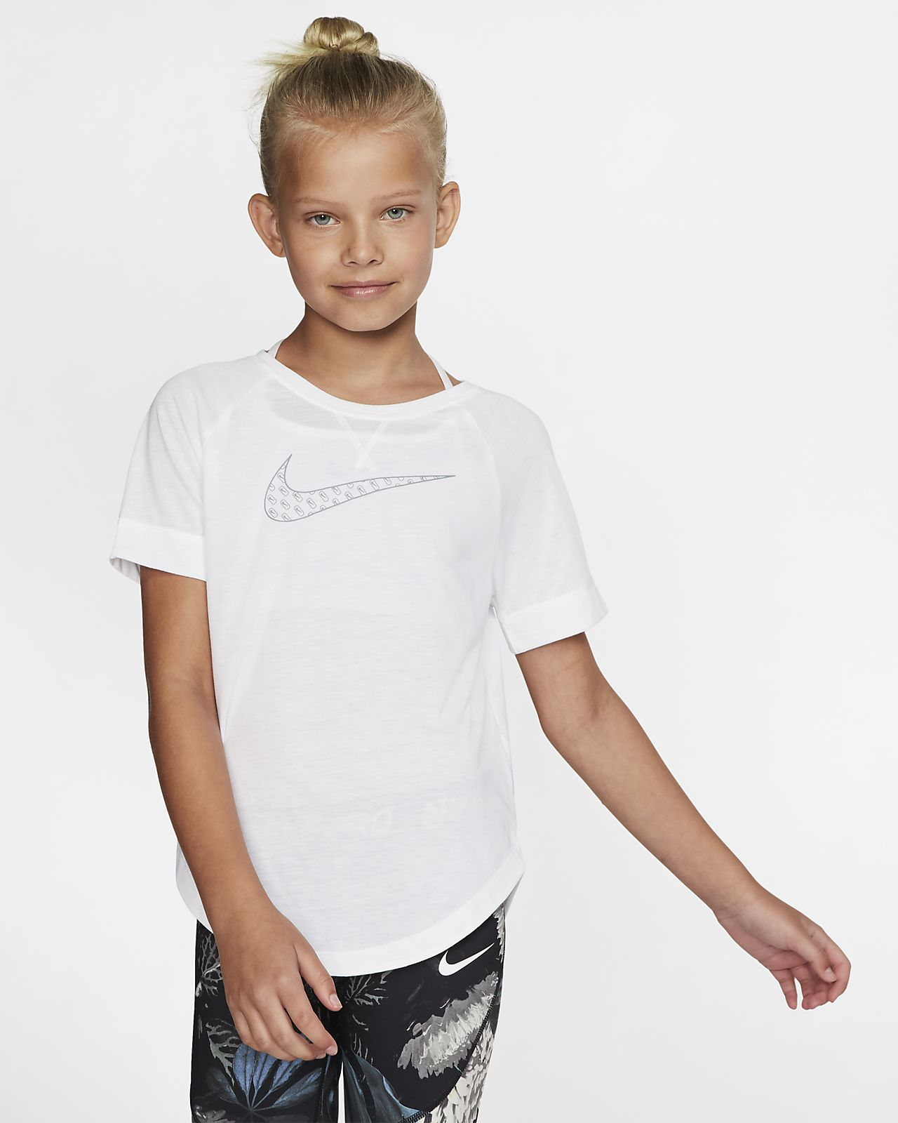 Nike Dri-FIT Trophy Big Kids' (Girls') Short-Sleeve Graphic Training Top