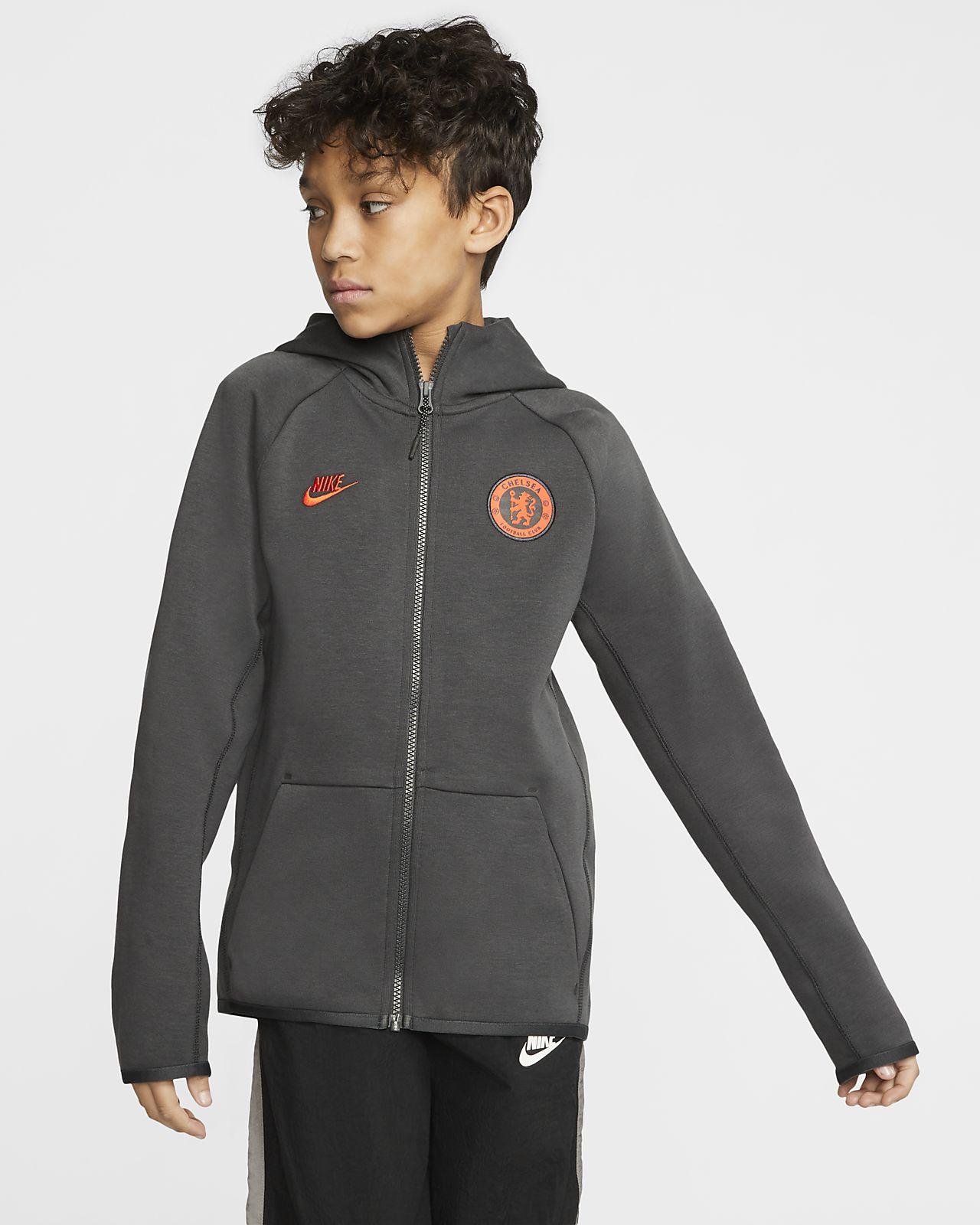 Chelsea FC Tech Fleece Essentials Hoodie mit durchgehendem Reißverschluss für ältere Kinder