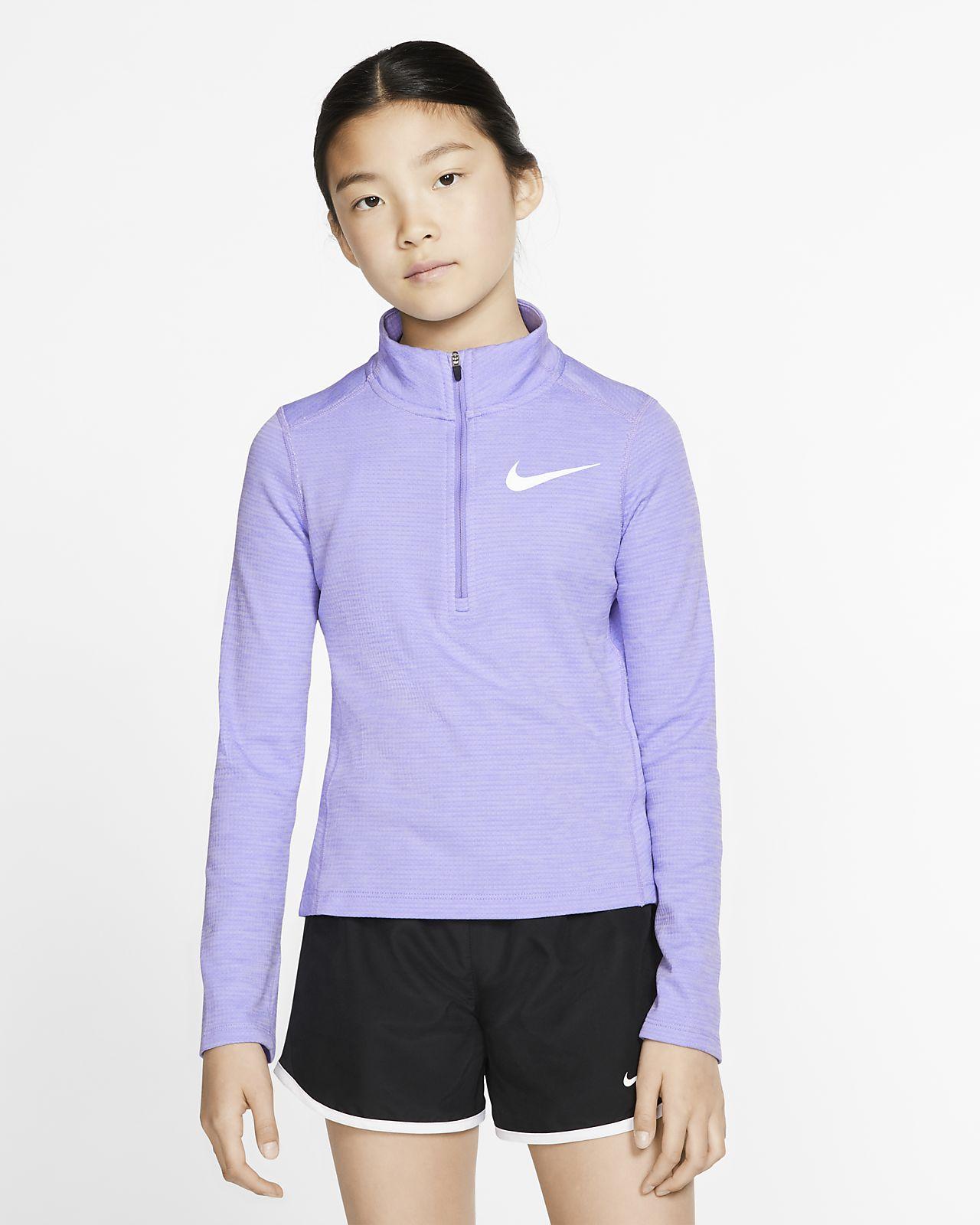 Nike Camiseta de running de manga larga con media cremallera - Niña