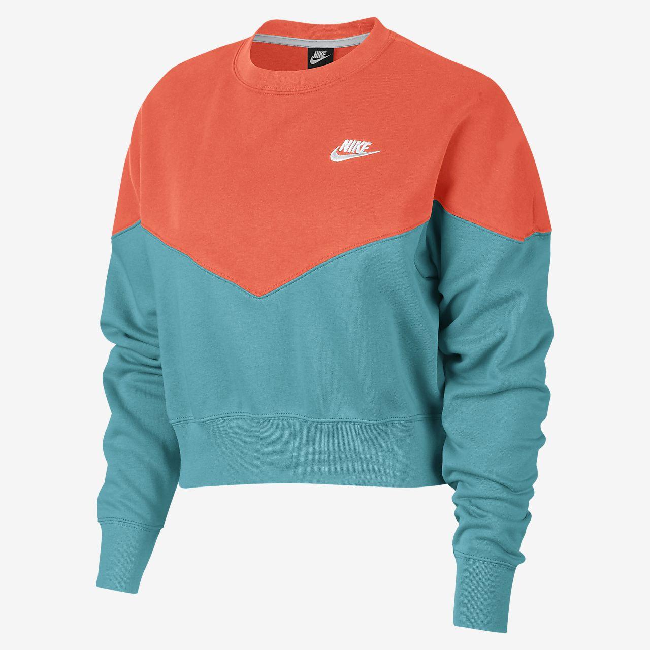 Nike Sportswear Heritage Fleece-Rundhalsshirt für Damen
