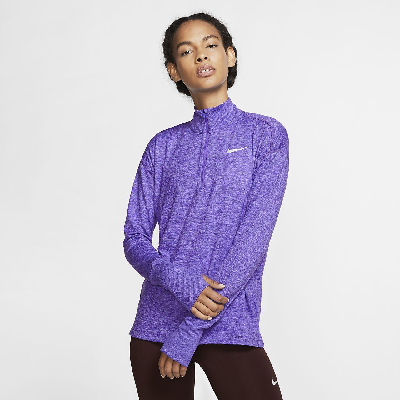 Top de running de medio cierre para mujer Nike Element