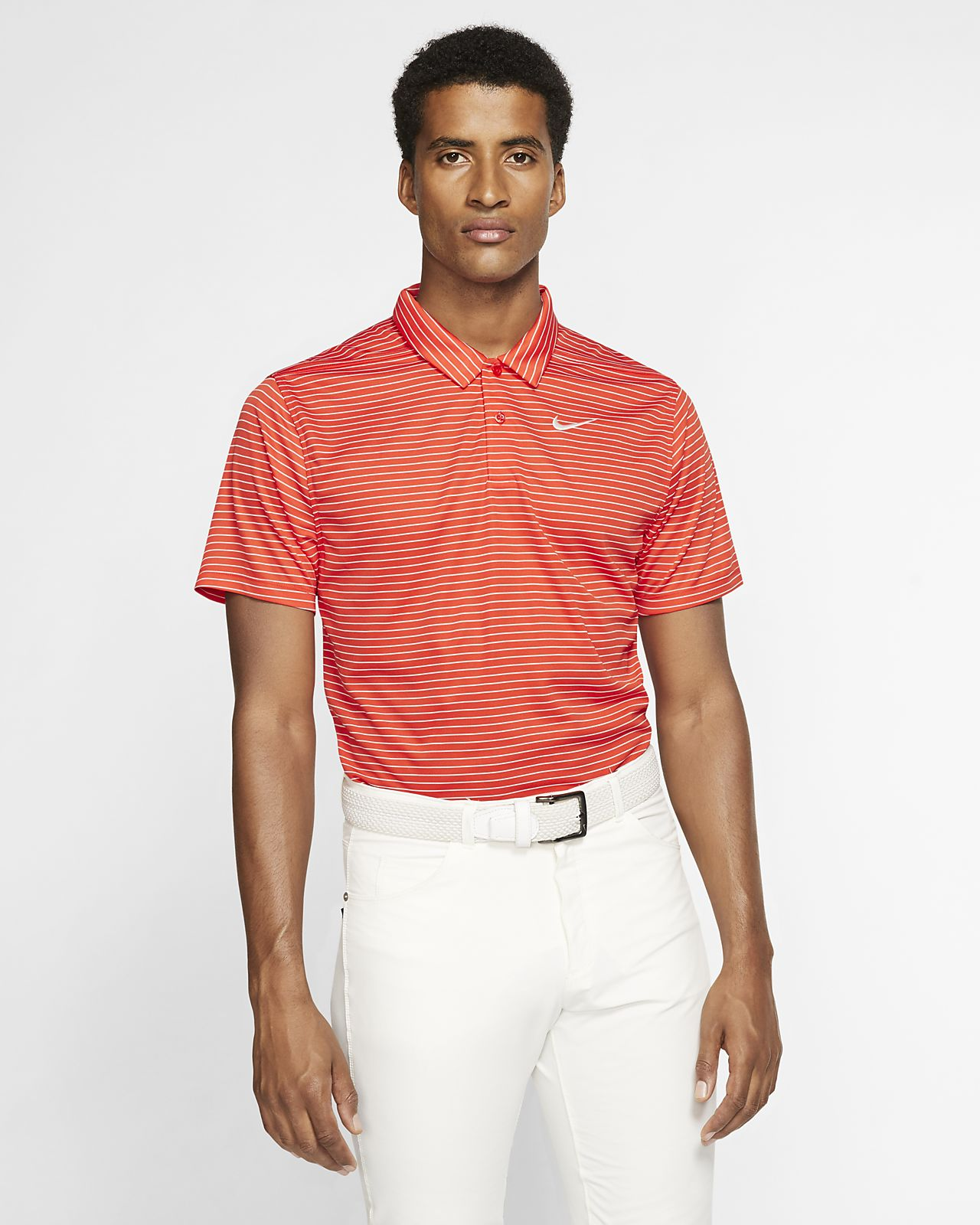 Nike Dri-FIT csíkos, galléros férfi golfpóló