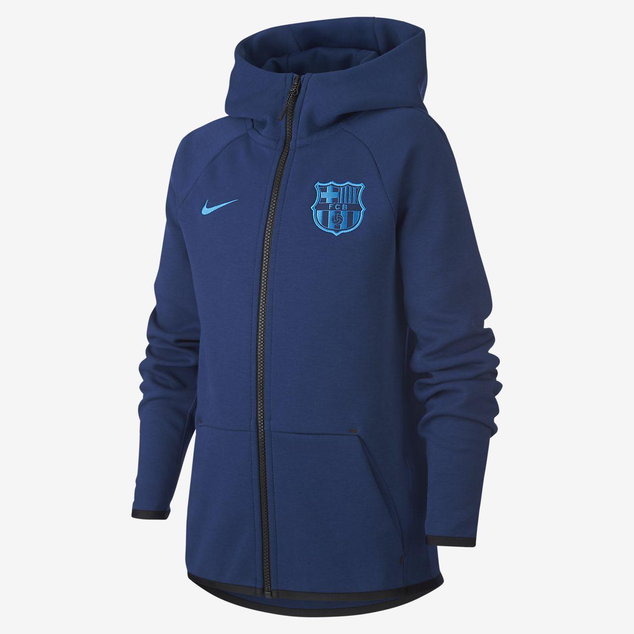 FC Barcelona Tech Fleece Older Kids' Full-Zip Hoodie