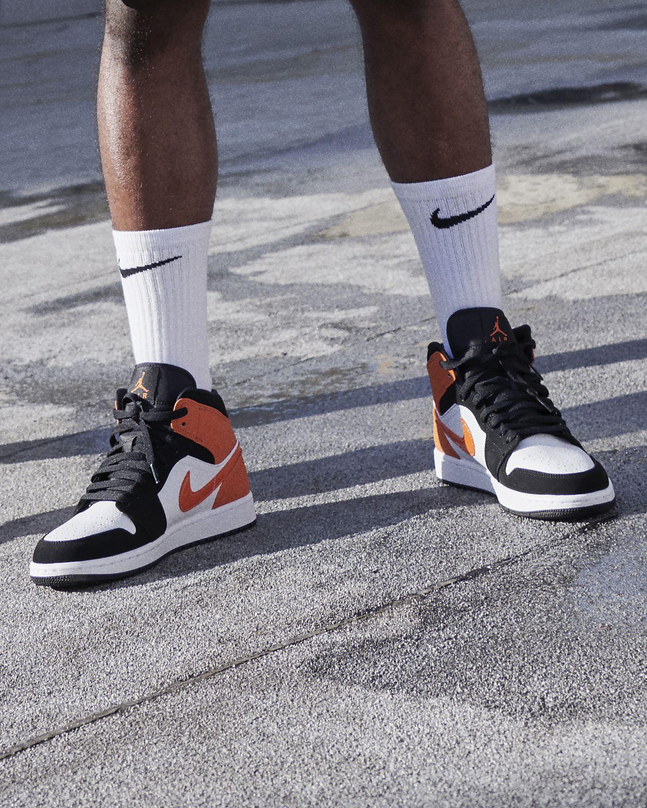 Detalles de Zapatos Nike Air Jordan 1 Medio Blanco Total Blanco Hombre Originales 554724 129