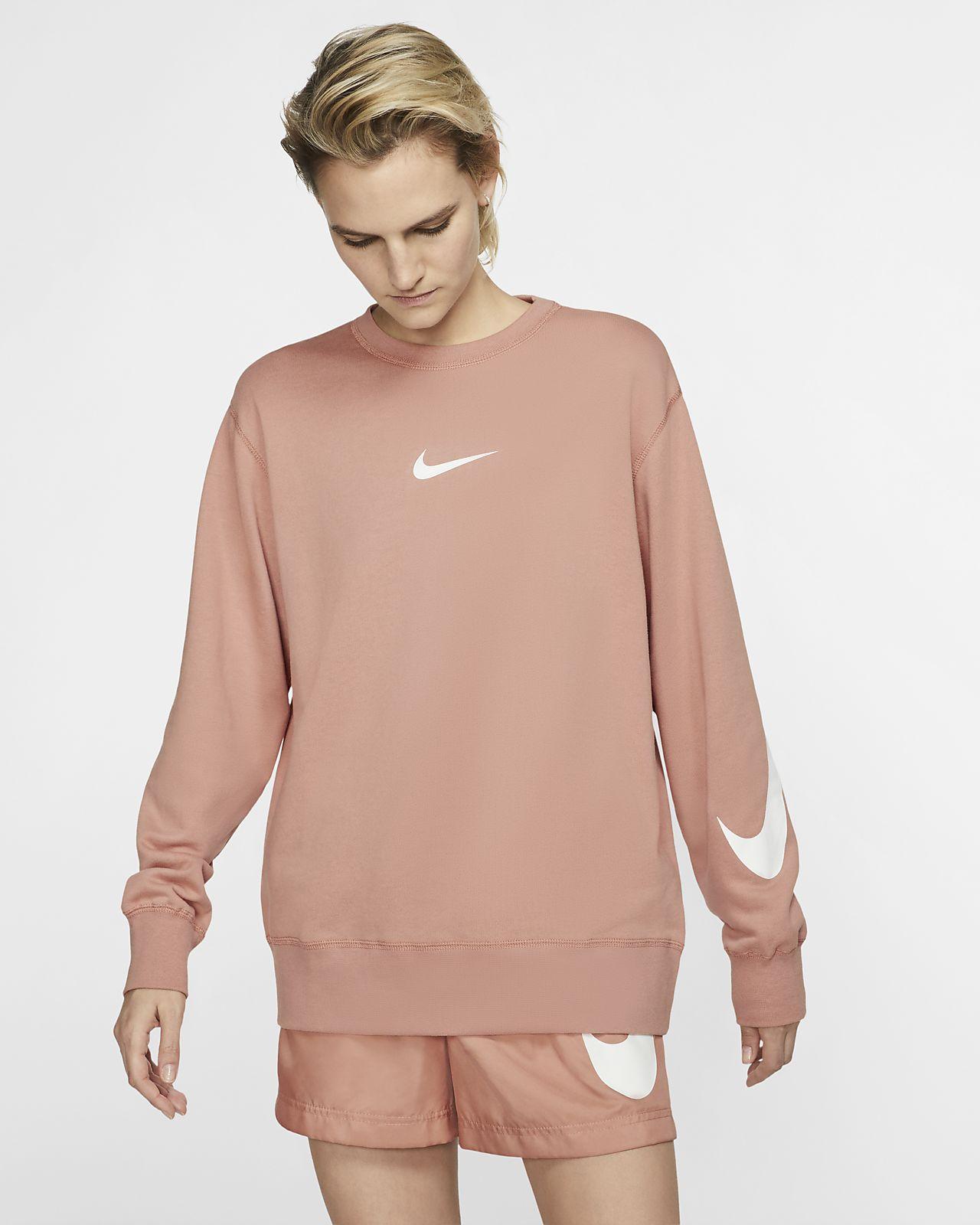 7dea48e3a586 Nike Sportswear Swoosh Women s Long-Sleeve French Terry Crew. Nike ...