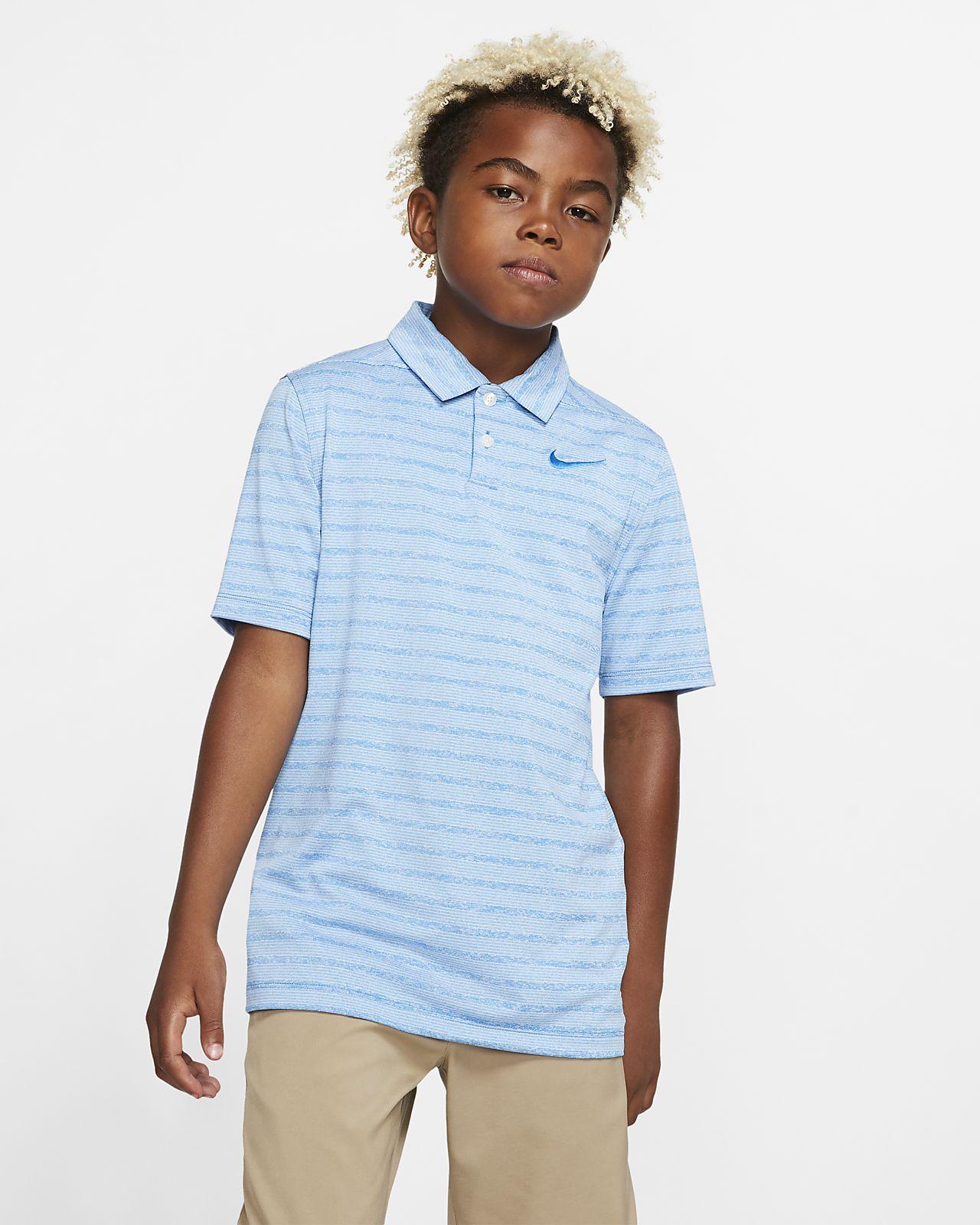Chlapecká golfová polokošile Nike Dri-FIT s proužky