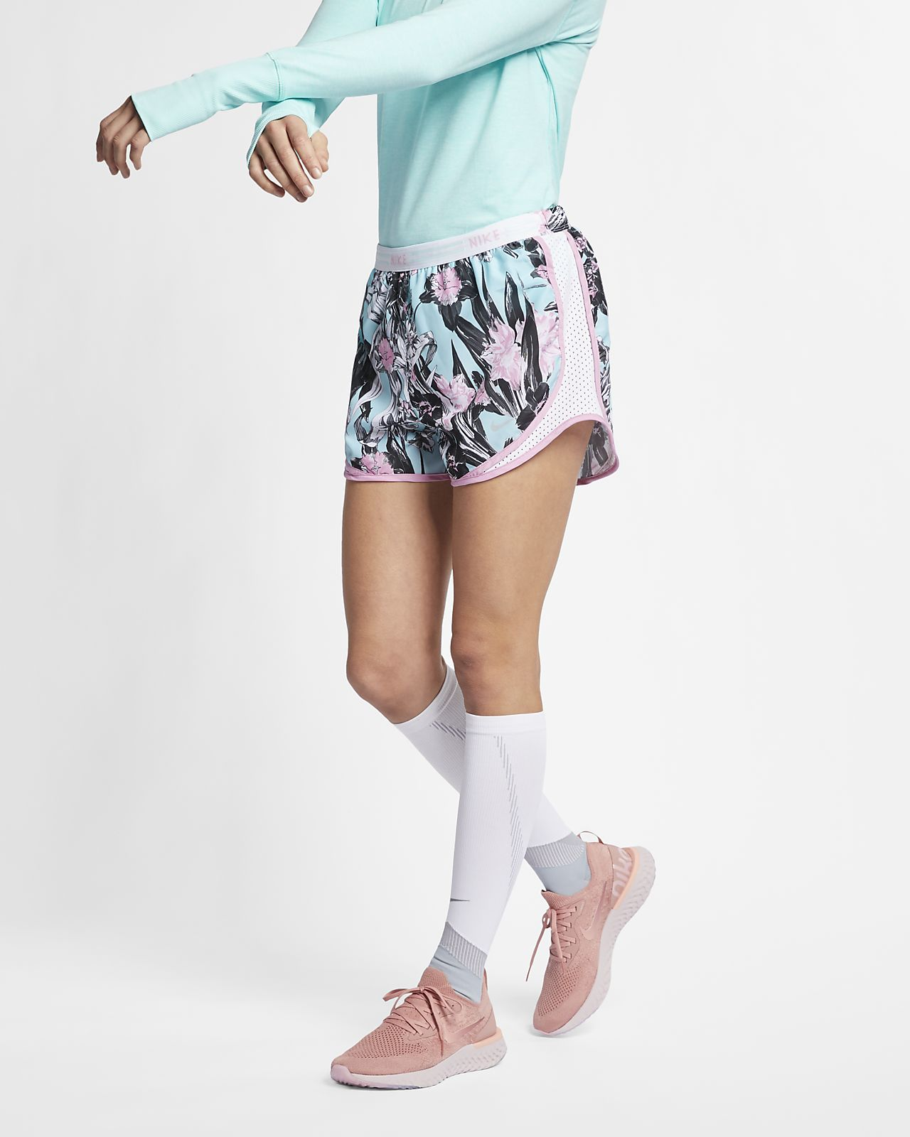 Shorts da running floreali Nike Tempo – Donna
