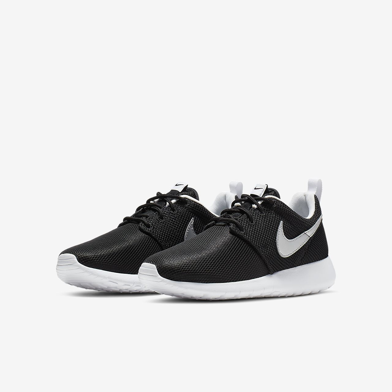 Fall/Winter Nike Roshe Run 599728-021 Black / Metallic Silver-White-White   Nike   (Kids)   2016