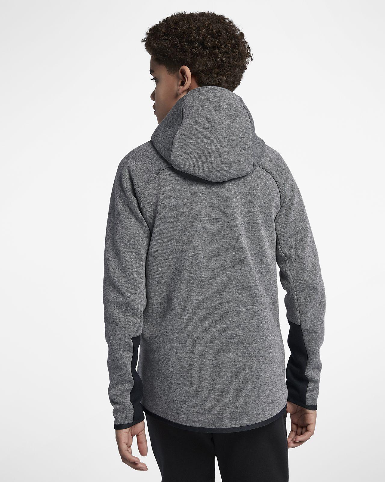 sweat capuche enti rement zipp nike sportswear tech fleece windrunner pour gar on plus g. Black Bedroom Furniture Sets. Home Design Ideas