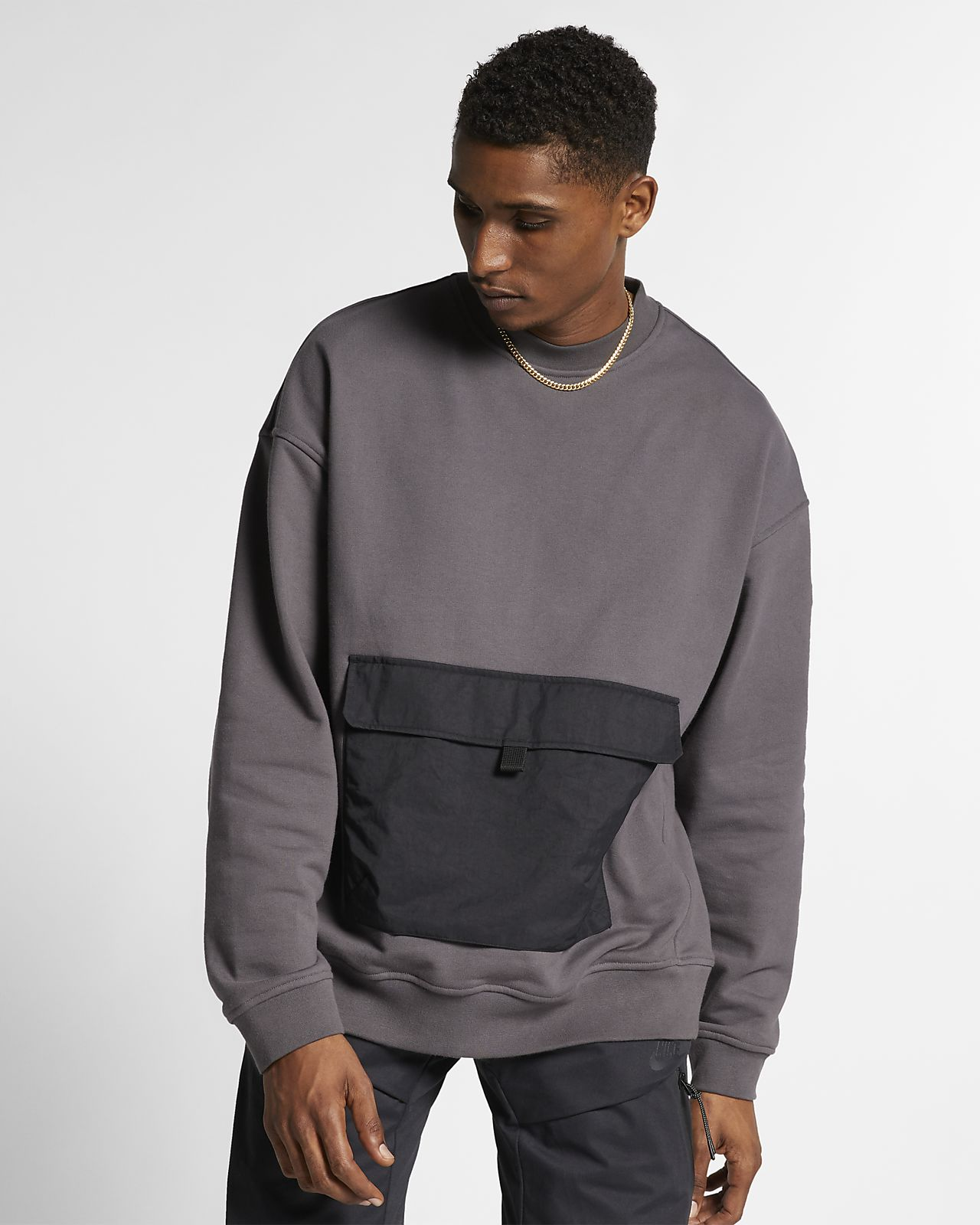 Nike Quest Langarm-Fleece-Rundhalsshirt