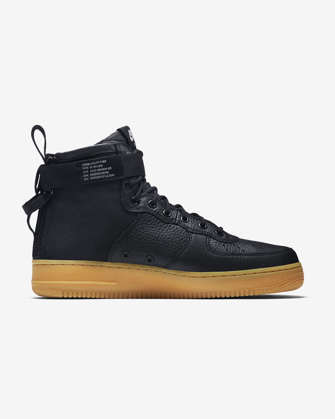 Sf Nike Air Force One Chaussures Mid Noir b5rxJY1U