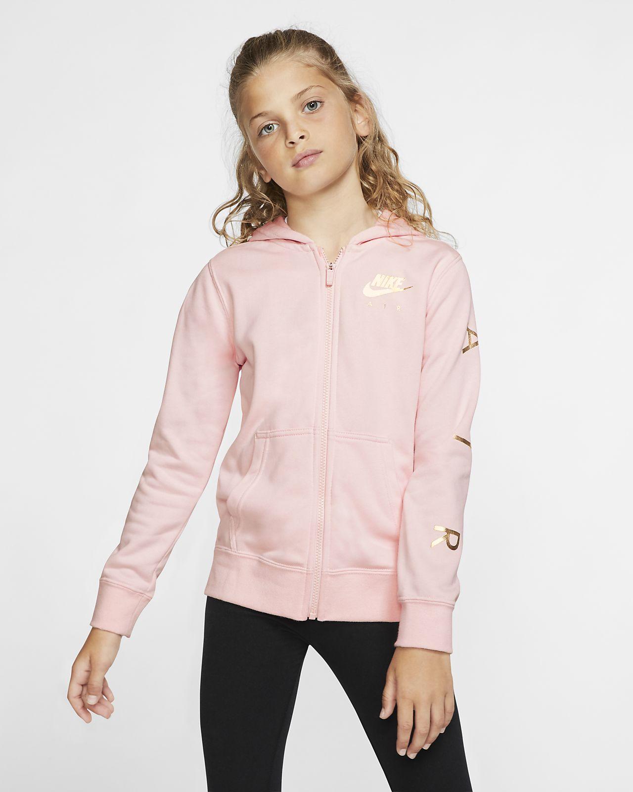 Nike Air hosszú cipzáras, kapucnis polárpulóver nagyobb gyerekeknek (lányoknak)