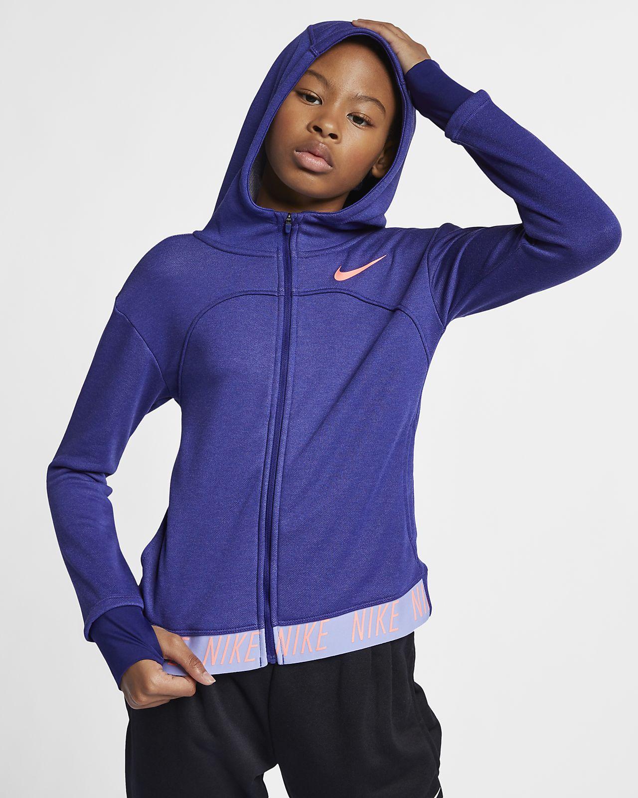 Sweat à capuche de training entièrement zippé Nike Dri FIT Core Studio pour Fille plus âgée