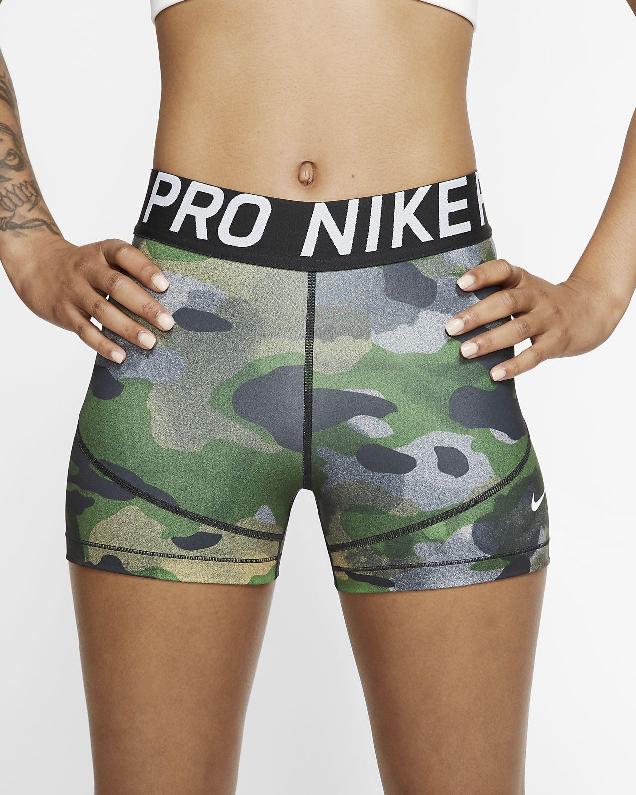 Short camouflage Nike Pro 8 cm pour Femme