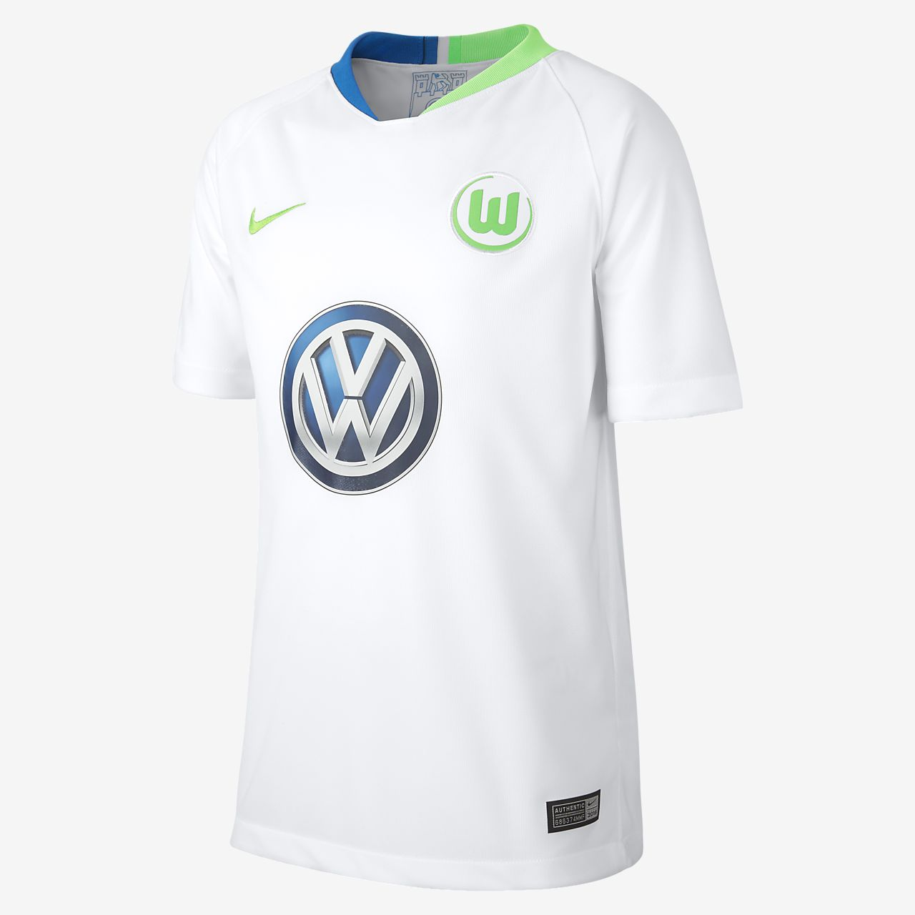 63dc87e5efd2 2018 19 VfL Wolfsburg Stadium Away Older Kids  Football Shirt. Nike ...