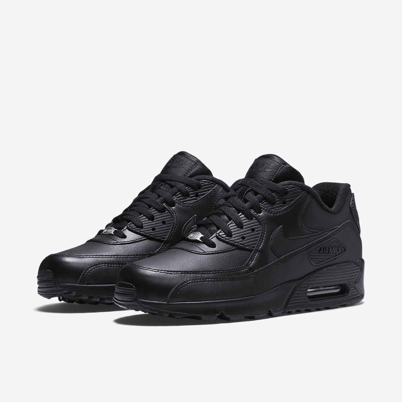 Nike Air Max 90 Leather Herren Sneaker (Schwarz 001)