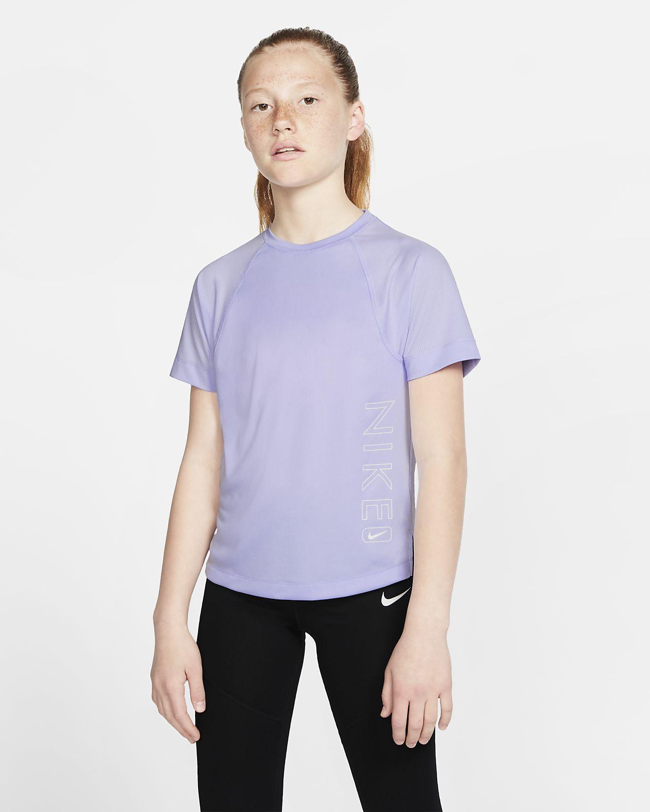 Nike Dri-FIT-træningsoverdel med grafik og korte ærmer til store børn (piger)