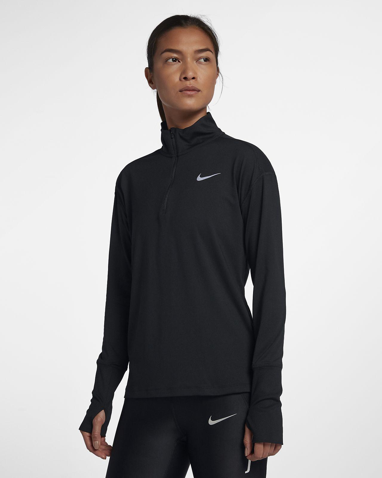 Camiseta de running de medio cierre para mujer Nike Element
