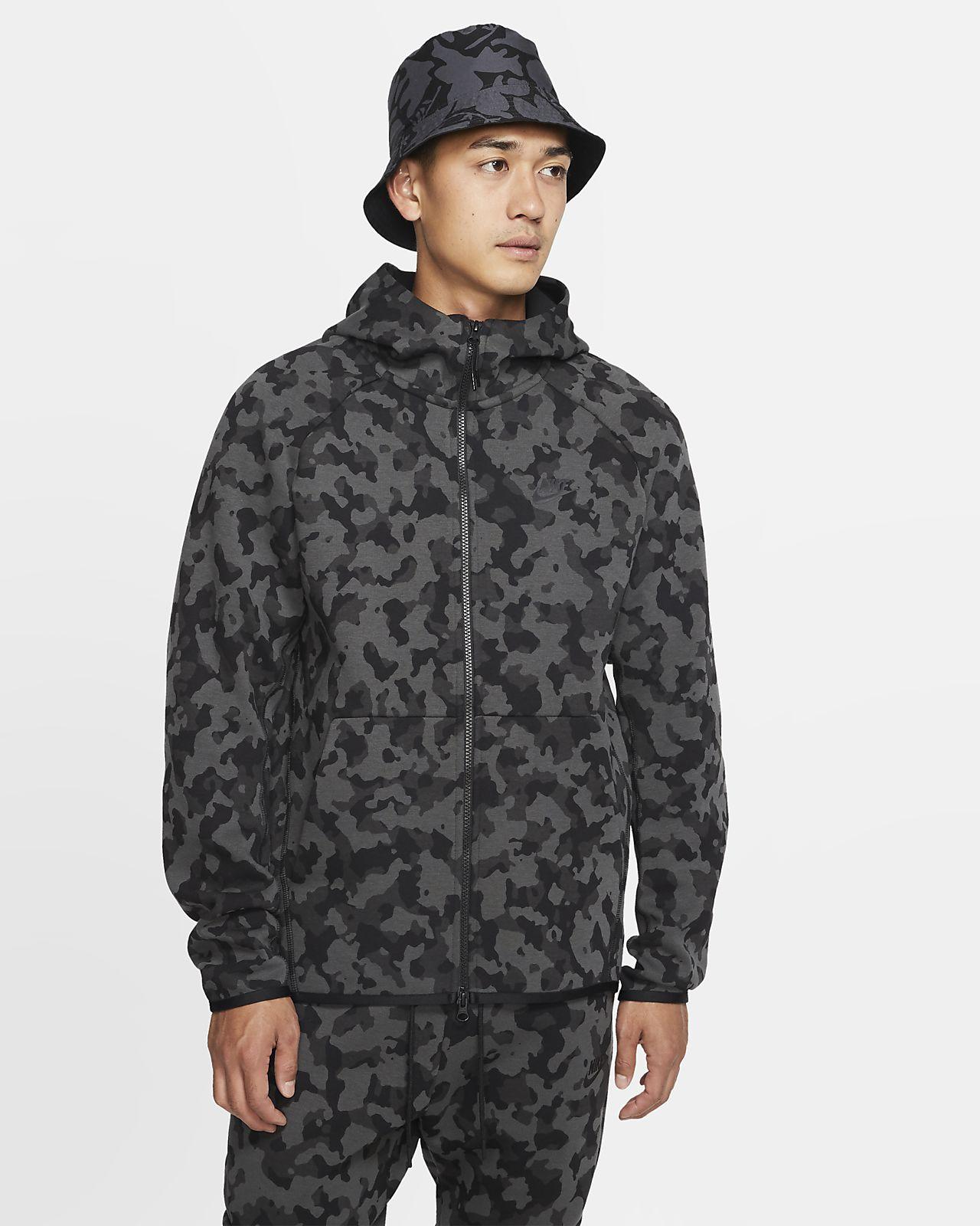 Pánská mikina Nike Sportswear Tech Fleece s kapucí, zipem po celé délce a potiskem