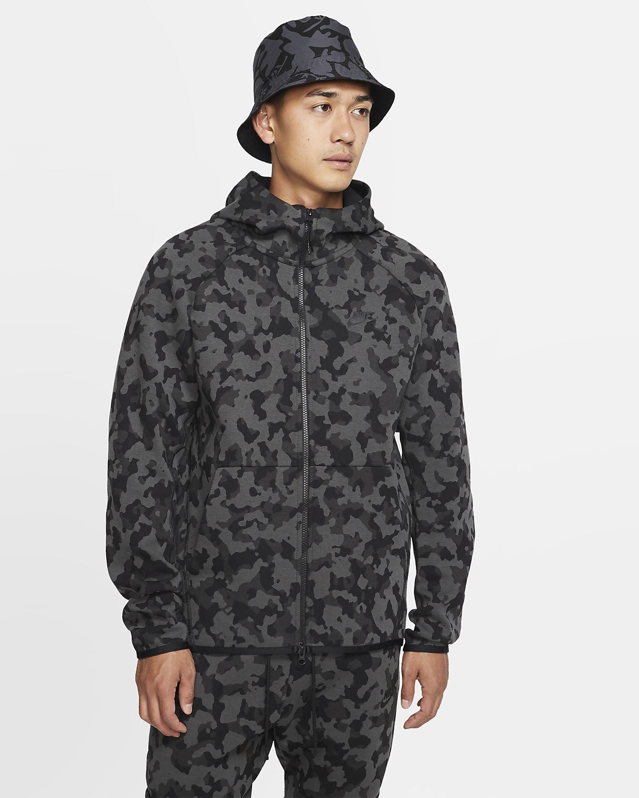 Nike Sportswear Tech Fleece Tam Boy Fermuarlı Baskılı Erkek Kapüşonlu Üst