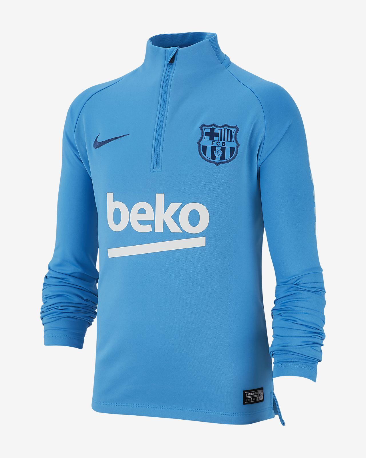 FC Barcelona Dri-FIT Squad Drill-langærmet fodboldtrøje til store børn