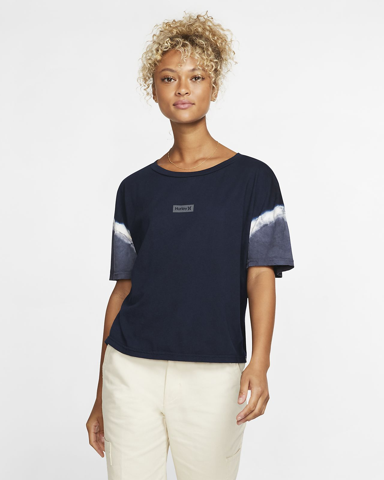 Hurley One And Only Small Box Sleeve Dye Flouncy Damen-T-Shirt