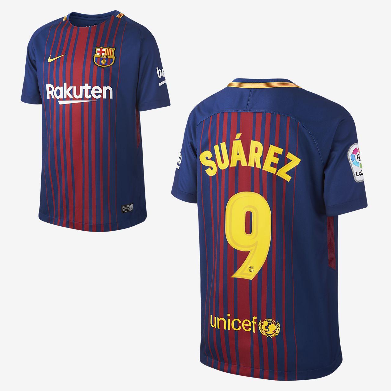 2017/18 FC Barcelona Home (Luis Suárez) Older Kids' Football Shirt
