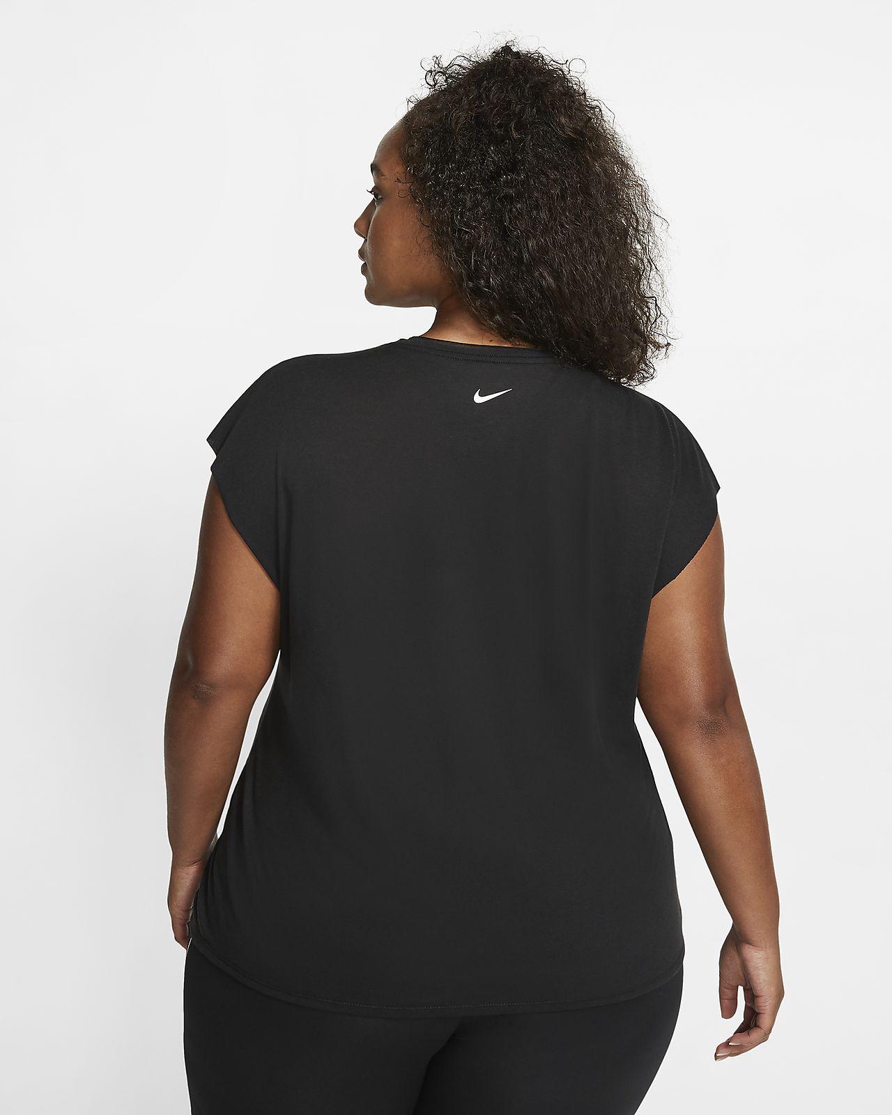 Nike Dri FIT kurzarm Trainingsoberteil mit Grafik für Damen (große Größe)