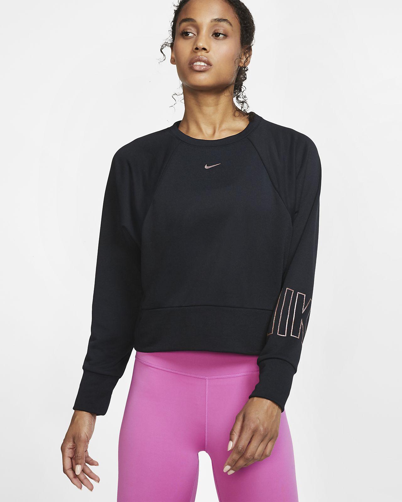 Träningströja i fleece Nike Dri-FIT Get Fit med rund hals och tryck för kvinnor