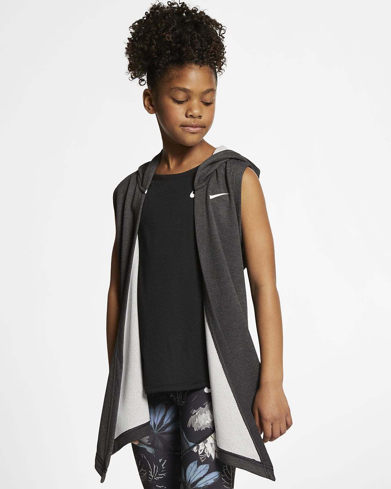 Chaleco de entrenamiento con capucha para niña talla grande Nike