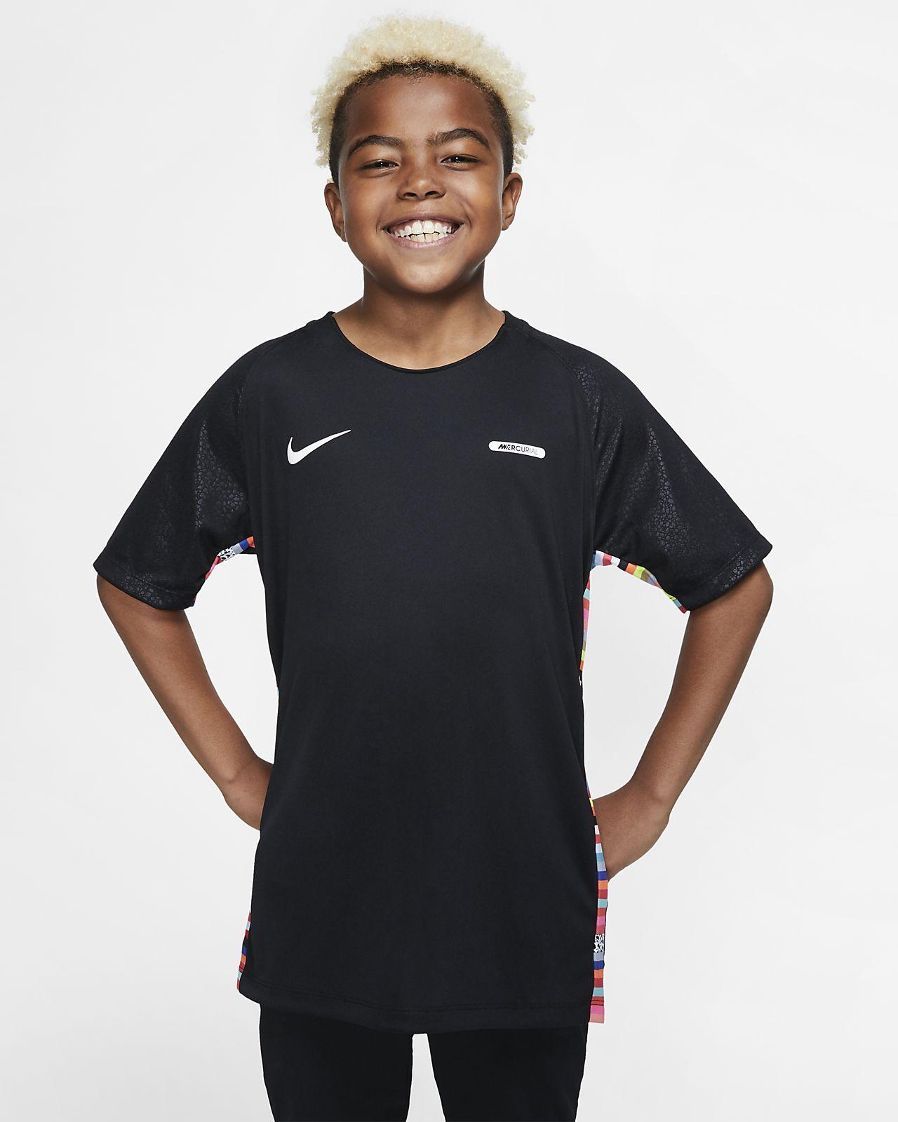 Prenda para la parte superior de fútbol de manga corta para niños talla grande Nike Dri-FIT Mercurial