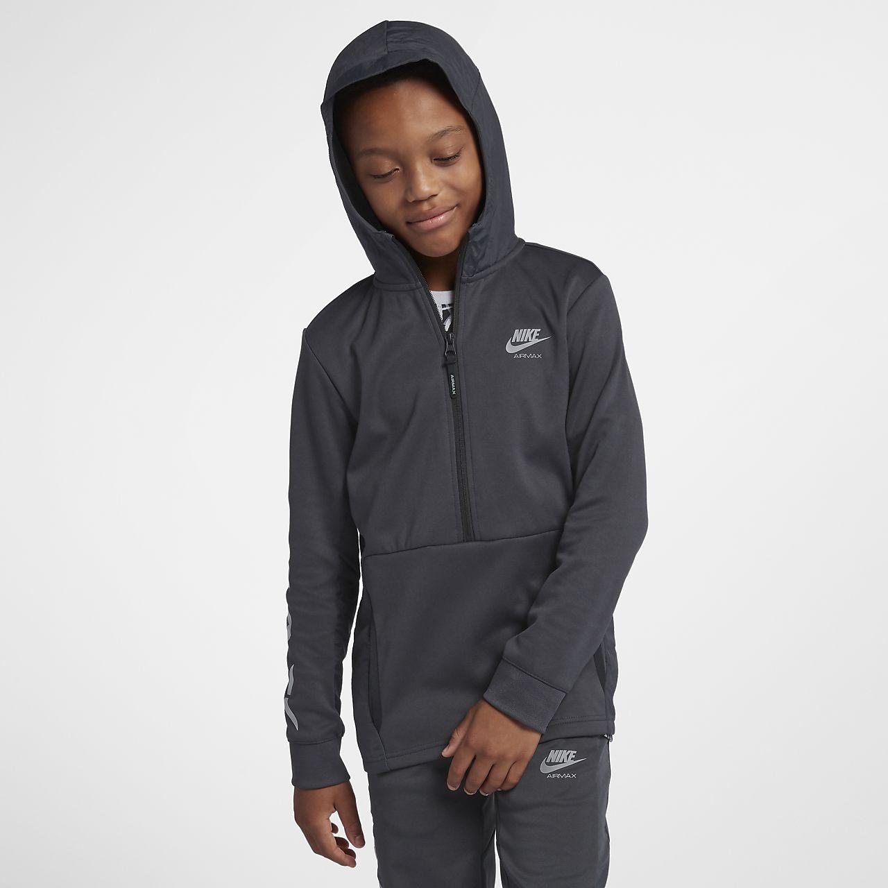 83d1df60dc ... Sweat à capuche de survêtement demi-zippé Nike Air Max pour Garçon plus  âgé